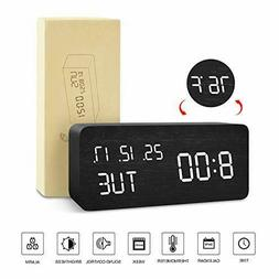 Modern Wooden Alarm Clock Wood USB/AAA Digital LED Calendar