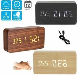 Modern Wooden USB/AAA Digital LED Alarm Clock Calendar Therm