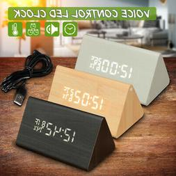 modern wooden wood digital led alarm clock