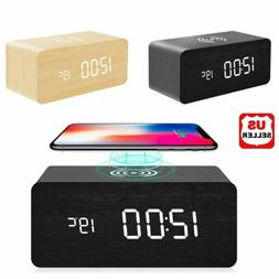 Modern Wooden Wood Digital LED Desk Alarm Clock Thermometer