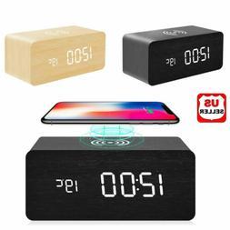 Modern Wooden Wood Digital LED Desk Alarm Clock Thermometer