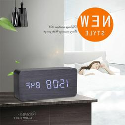 Modern Wooden Wood USB/AAA Digital LED Black Alarm Clock Cal