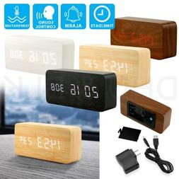 Modern Wooden Wood USB/AAA Digital LED Alarm Clock Calendar