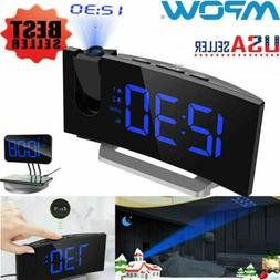 Mpow 5'' LED Curved Projection Alarm Clock FM Radio 12/24 Ho