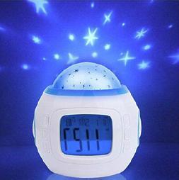 Generic Music Star Sky Projection Alarm Clock With Calendar