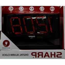 New! Sharp 1.8' Red LED Dimmer Alarm Clock Fast Free Shippin
