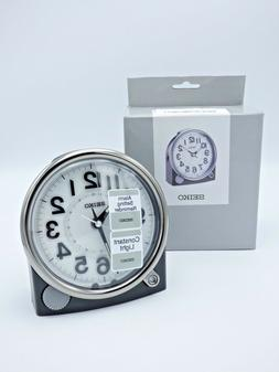 SEIKO NEW BLACK ALARM CLOCK WITH QUIET SWEEP QHE143JLH W/ CO