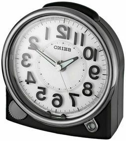SEIKO NEW BLACK ALARM CLOCK  WITH QUIET SWEEP QHE143JLH W/ C