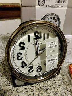 New Seiko Black Bedside Alarm Clock w/Quiet Sweep & Constant