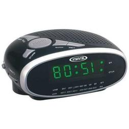 Jensen NEW Black JCR-175 LED Dual Alarm Clock AM/FM Radio Sn
