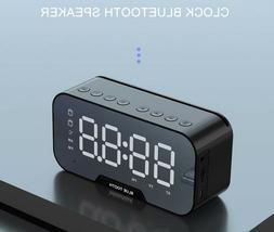 New Bluetooth Alarm Digital Clock Mirrored MP3 FM Radio Spea