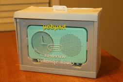 NEW Heyday Bluetooth Retro Midcentury Clock Speaker Mint gre