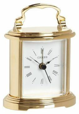 New Seiko Desk And Table Alarm Carriage Clock Gold-tone Meta