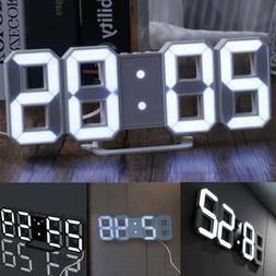 New Digital 3D LED Wall Clock Alarm Snooze Watch 12/24 Hour