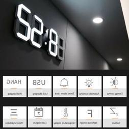 Digital 3D LED Wall Clock Alarm Clock Snooze 12/24 Hour Disp