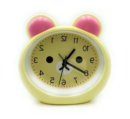 New Kids Chime Alarm Clock Cute Yellow Bear Face Battery Ope
