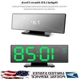 New Mirror LED Alarm Clock Night Lights Thermometer Digital