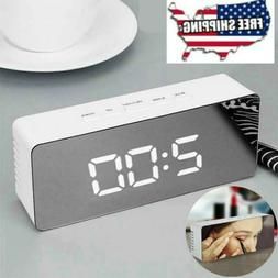 New Mirror LED Digital Alarm Clock Night Lights Thermometer