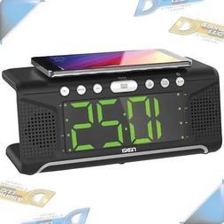 NEW Naxa NRC-190 Dual Alarm Clock with Qi Wireless Charging