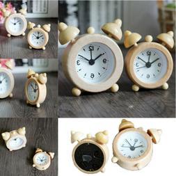 New Portable Cute Mini Classic Round Wood Alarm Clock For Ki