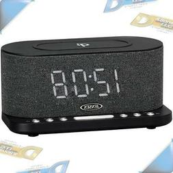 NEW JENSEN QiCR-50 Dual Alarm Clock Radio with Wireless QI C