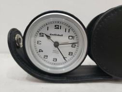 NEW Radio Shack Working Travel Quartz Alarm Round Leather Ca