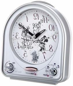 NEW SEIKO Disney Melody Alarm Clock Analog FD464S Silver Fre