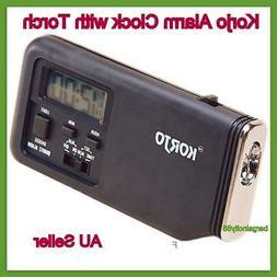 New Korjo Sml Pocket Travel Alarm Clock with Torch Slim Loud