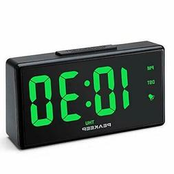 PEAKEEP Night Light Digital Alarm Clock with USB Charger and