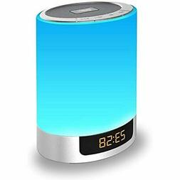 Night Lights Bluetooth Speaker, Alarm Clock with Touch Contr