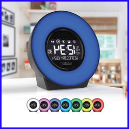 La Crosse 7 Color Mood Light LCD Alarm Clock with Nature So
