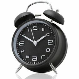 "Betus [Non-Ticking 4"" Twin Bell Alarm Clock - Metal Frame 3D"