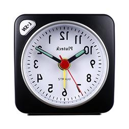 Pluteck Non Ticking Travel Alarm Clock with light and Snooze