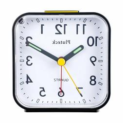 Pluteck Non Ticking Analog Alarm Clock with Nightlight and S