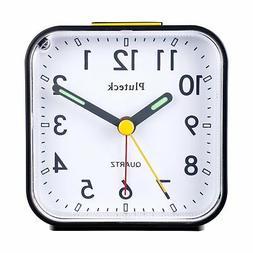 Pluteck Non Ticking Quartz Analog Alarm Clock with Nightligh