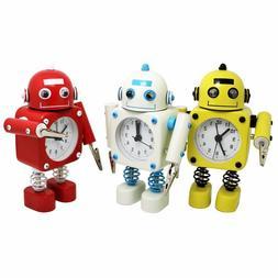 Betus Non-ticking Robot Alarm Clock Stainless Metal Wake-up