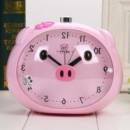 Novelty Cute Pig Talking Alarm Clock With Night Light Table