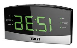 NAXA NRC-181 Bluetooth Easy-Read Dual-Alarm Clock with Daily