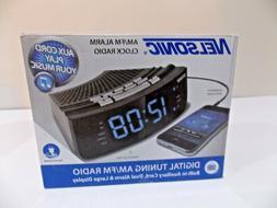 NS Blue LED Alarm Clock Radio with Digital Tuner Large displ
