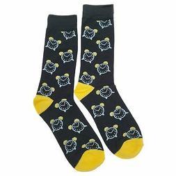 NWT Alarm Clock Dress Socks Novelty Men 8-12 Black Fun Sockf