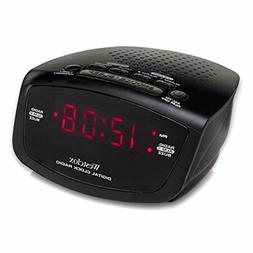"Westclox NYL80209 LED .6"" Alarm Clock Radio Red w/Snooze"