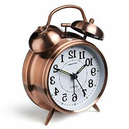 Peakeep 4 inches Twin Bell Loud Alarm Clock for Heavy Sleepe