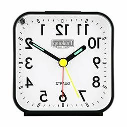 NEW Peakeep Small Battery Operated Analog Travel Alarm Clock