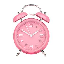 """Peakeep 4"""" Twin Bell Pink Alarm Clock, Battery Operated, Lou"""