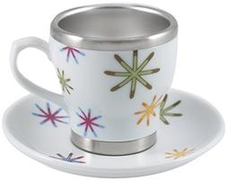 Pearl Cafe Stainless Steel and Porcelain Rainbow Stars Espre
