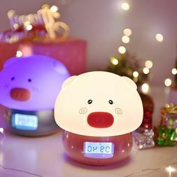 Pig LED Night Light With Alarm Clock Touch Sensor Colorful U