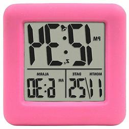 Pink Soft Cube Loud Digital Alarm Clock For Kids Heavy Sleep