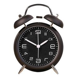 """Portable 4"""" Twin Bell Loud Travel Alarm Clock With Backlight"""