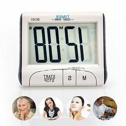 Portable Digital Clock Large LCD Timer Countdown Loud Alarm