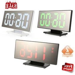 Portable Digital LED Mirror Surface Alarm Clock With Large U